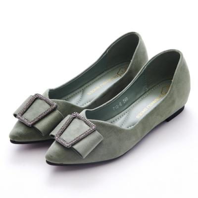 A one 尖頭梯型鑽飾麂皮絨內增高平底包鞋 -蘋果綠