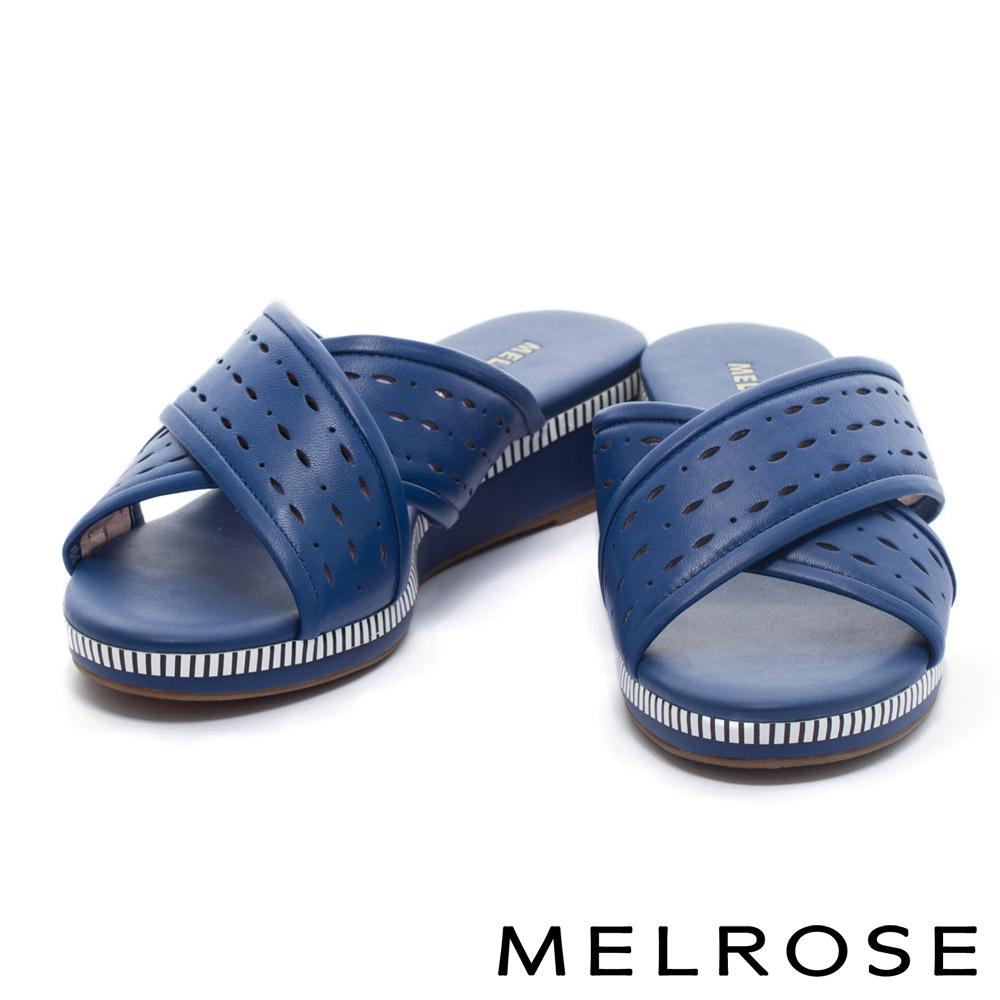 拖鞋 MELROSE 簡約休閒交叉沖孔羊皮厚底拖鞋-藍