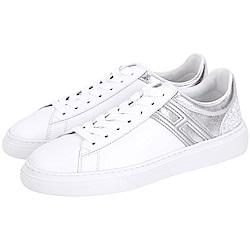 HOGAN H340 迸裂亮片細節繫帶都市滑板鞋(白色)