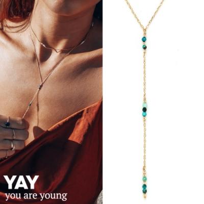 YAY You Are Young 法國品牌 Riviera土耳其藍孔雀石項鍊 金色Y字鍊