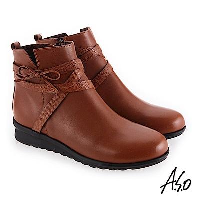 A.S.O 絕佳質感 真皮鞋面心機美靴 茶