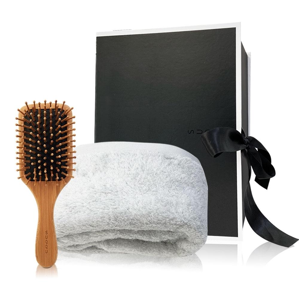 SUQQU 木質髮梳+純棉浴巾限量禮盒