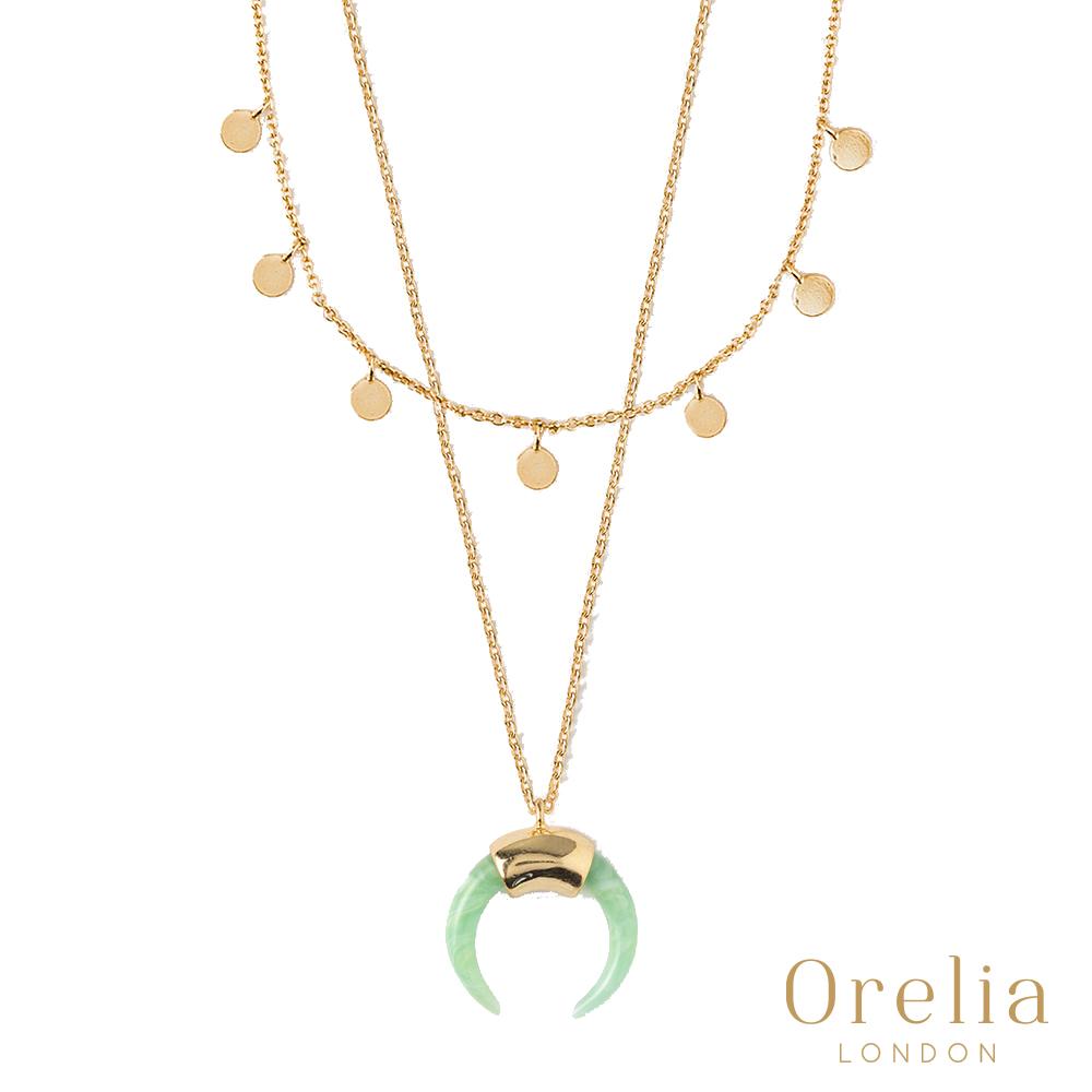 Orelia 英國倫敦 MINI COIN & HORN 淡綠牛角瑪瑙層次鍍金項鍊