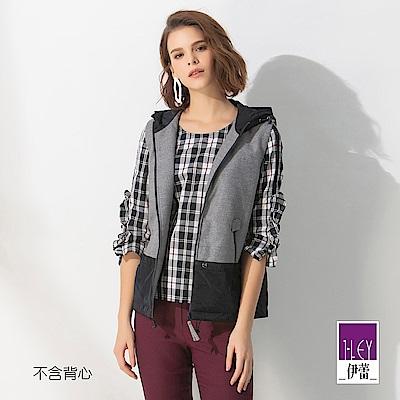 ILEY伊蕾 縷空織帶小荷葉七分袖格紋寬版上衣(黑)