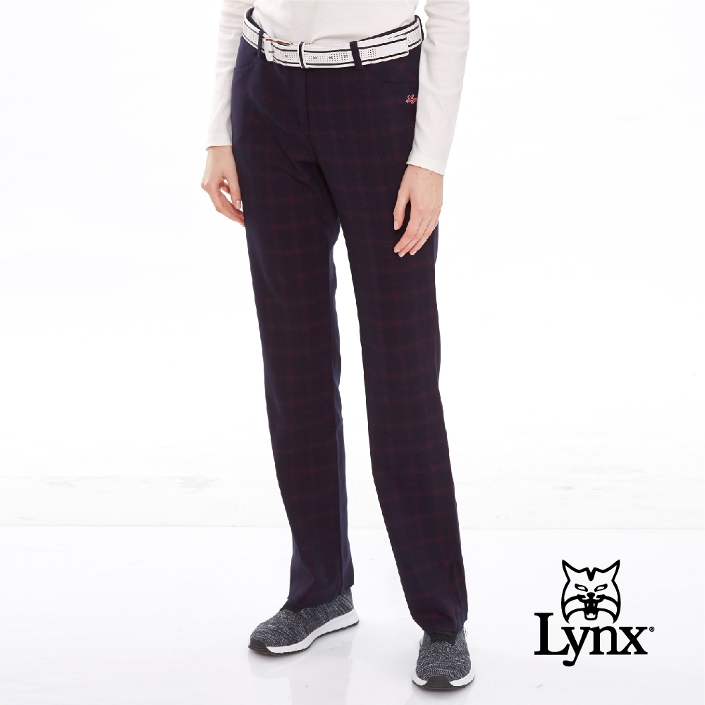 【Lynx Golf】女款經典復古深藍紅格格紋休閒長褲-暗紅色