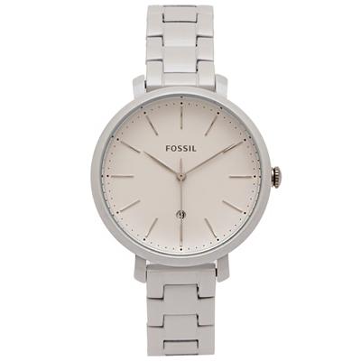 FOSSIL 白色無瑕款的不鏽鋼手錶(ES4397)-銀白色面/36mm