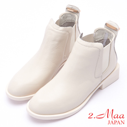 2.Maa 復古刷紋金屬扣鬆緊套牛皮短靴 - 米白