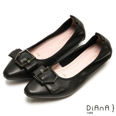 DIANA都會時尚穿孔寬帶尖頭平底鞋-漫步雲端厚切焦糖美人-黑
