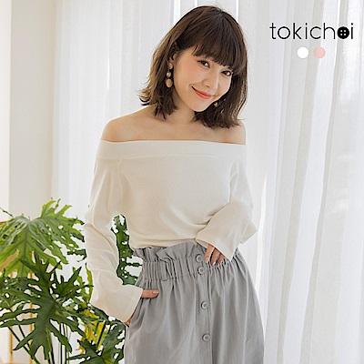 東京著衣-輕甜春日鬆緊一字領棉質上衣-S.M.L(共兩色)