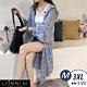 【LANNI 藍尼】舒適輕薄格紋連帽長版外套-藍色(M-3XL) product thumbnail 1