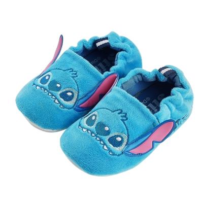 迪士尼童鞋 史迪奇 柔毛電繡寶寶學步鞋-藍