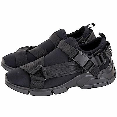 PRADA Neoprene 潛水布料織帶釦運動鞋(女款/黑色)