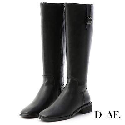 D+AF 時髦主張.側釦環筆挺方頭長靴*黑