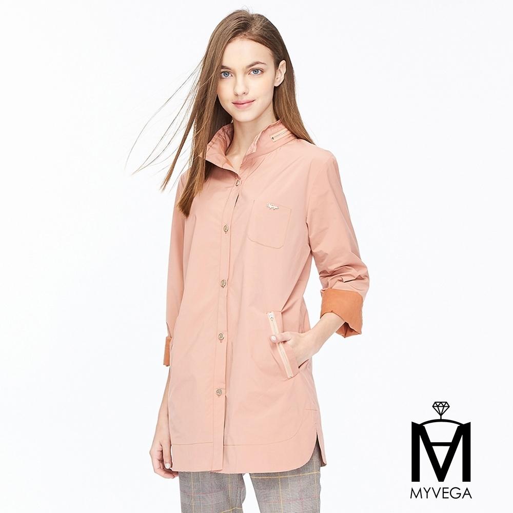麥雪爾 MA不易皺微光澤排釦外套-粉
