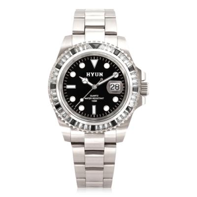 HYUN炫 男士鋯石設計精品錶-白鋼黑底白鑽