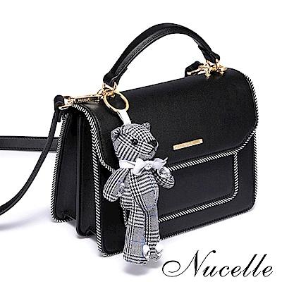 Nucelle 格紋熊吊飾氣質手提包 香奈黑