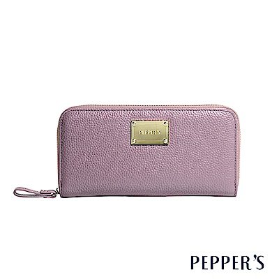 PEPPER`S Doris 牛皮拉鍊長夾 - 迷霧紫
