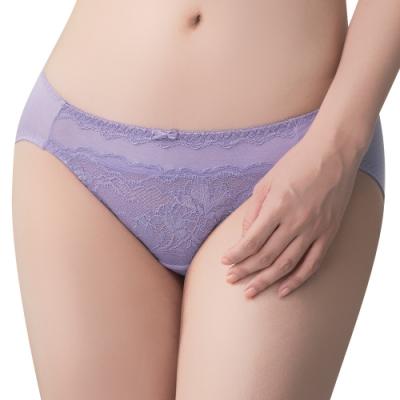 思薇爾 冰雪女王系列M-XL蕾絲低腰三角內褲(冰清紫)