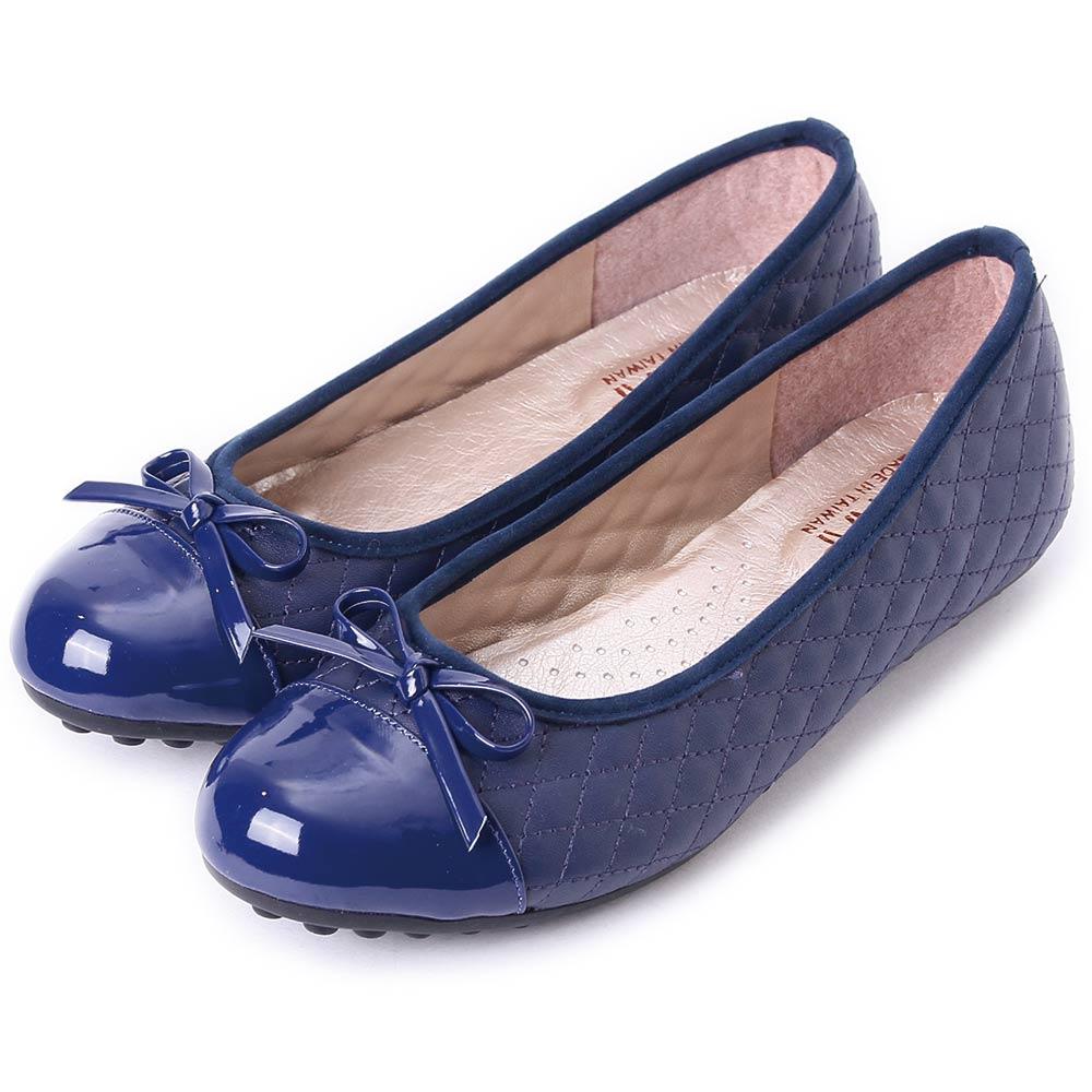 TTSNAP娃娃鞋-MIT小香風菱格紋平底鞋 藍