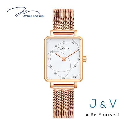 J&V-My Queen執我系列-方形玫瑰金米蘭帶女錶 X02060-Q3.PPWBP