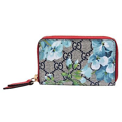 GUCCI GG Supreme Blooms系列花卉圖案拉鍊零錢包(藍X紅色)