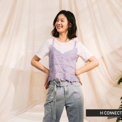 H-CONNECT 韓國品牌 女裝-鏤空雕花兩件式背心上衣-淺藍色