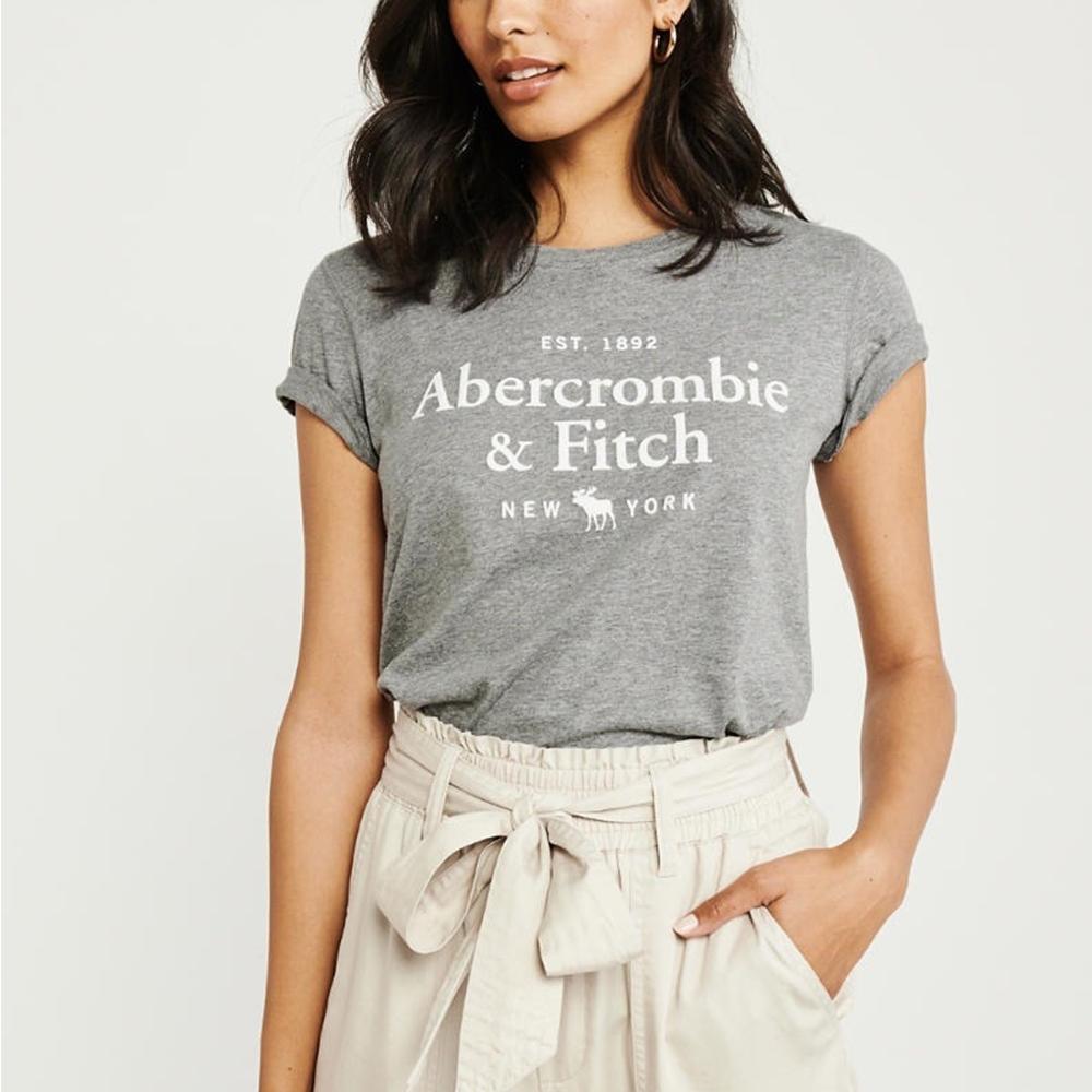 麋鹿 AF A&F 年度熱銷經典文字大麋鹿短袖T恤(女)-灰色