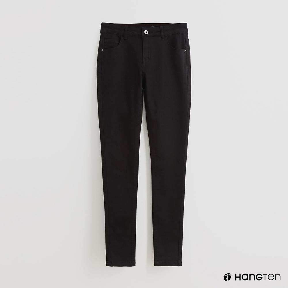 Hang Ten - 女裝 - 簡約純色修身休閒長褲 - 黑