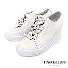 Tino Bellini 立體皮革繁花亮鑽內增高厚底休閒鞋 _ 白