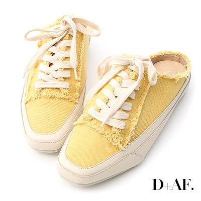 D+AF 自在主打.帆布抽鬚方頭休閒穆勒鞋*黃