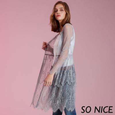 SO NICE優雅鏤空蕾絲罩衫