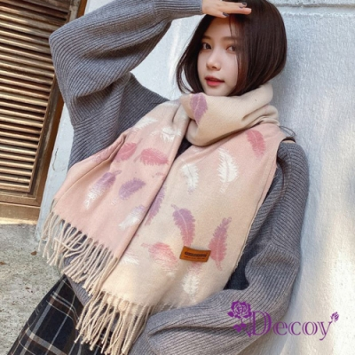 Decoy 天使彩羽 漸層流蘇加大保暖披肩圍巾 2色可選