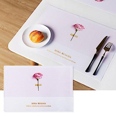 半島良品 升級防水北歐風PVC餐桌隔熱墊- 粉底玫瑰