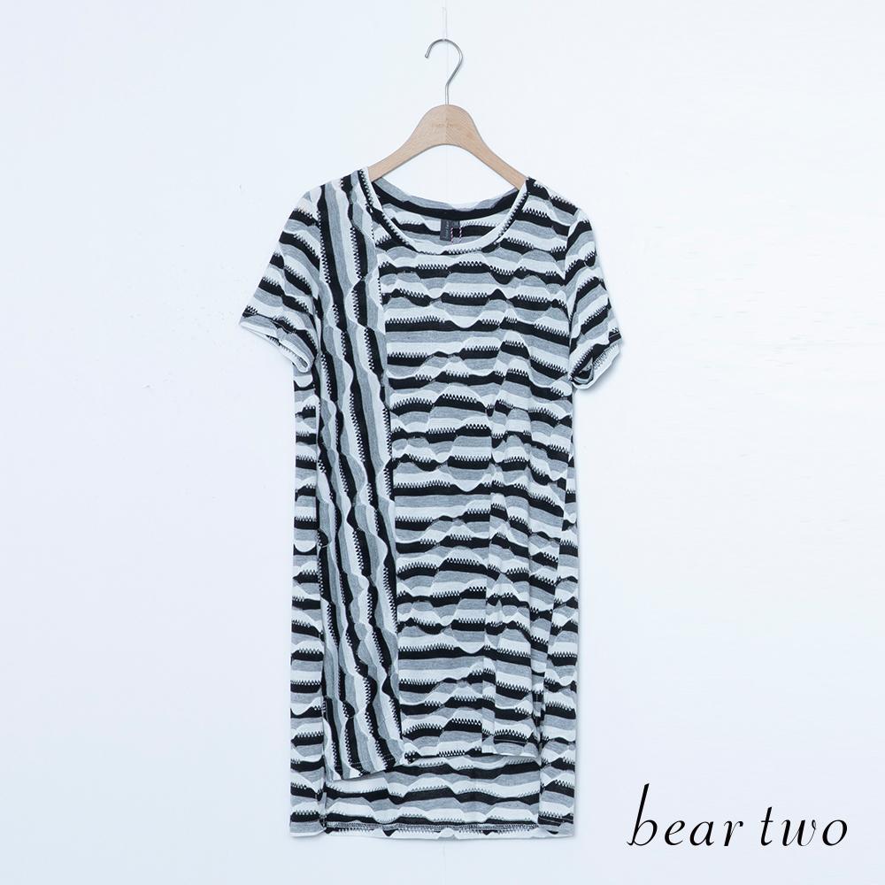 beartwo 不規則斑馬條紋印長版上衣(二色)