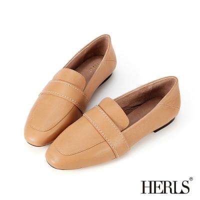 HERLS樂福鞋-全真皮兩穿縫線橫帶平底鞋樂福鞋-奶茶色