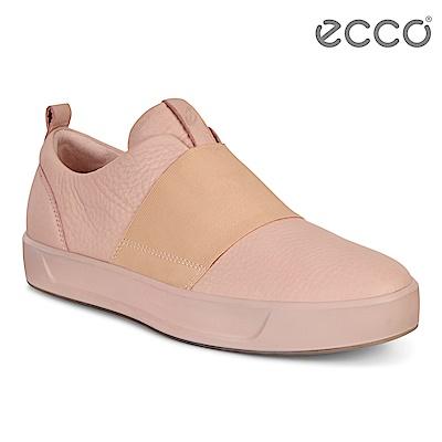 ECCO SOFT 8 LADIES 簡約撞色鬆緊帶設計休閒鞋 女-粉紅