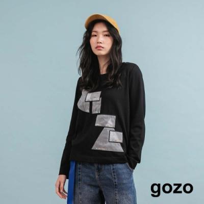 gozo 趣味幾何網紗亮片造型上衣(黑色)