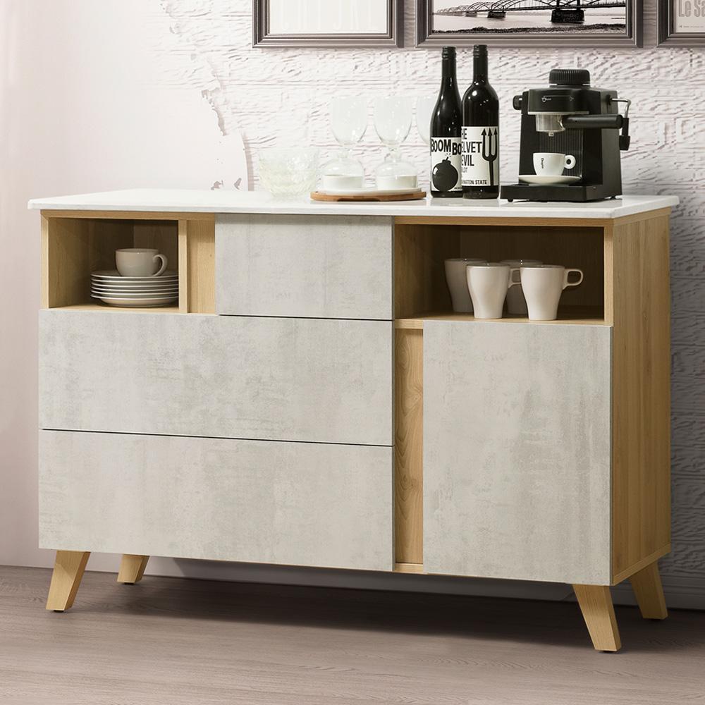 Homelike 蜜雪兒4尺石面餐櫃-120x41x84cm-免組裝