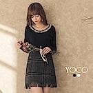 東京著衣-yoco 優雅歐膩大圓領碎鑽珍珠滾邊針織上衣-S.M.L(共二色)
