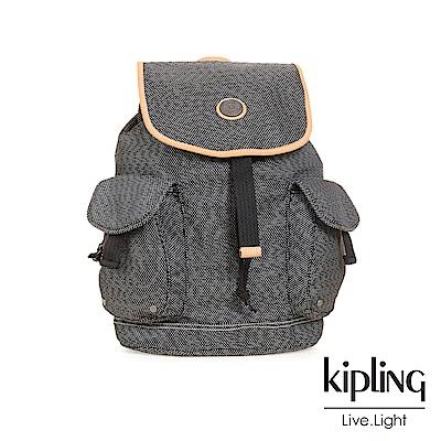 Kipling編織灰撞色前袋掀蓋後背包