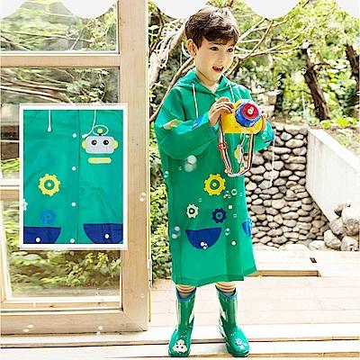 半島良品 可愛機器人帶反光條兒童雨衣-綠色M