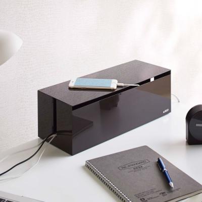 日本【YAMAZAKI】web電線收納盒-附蓋(棕)★日本百年品牌★電線收納/集線器/線材收納
