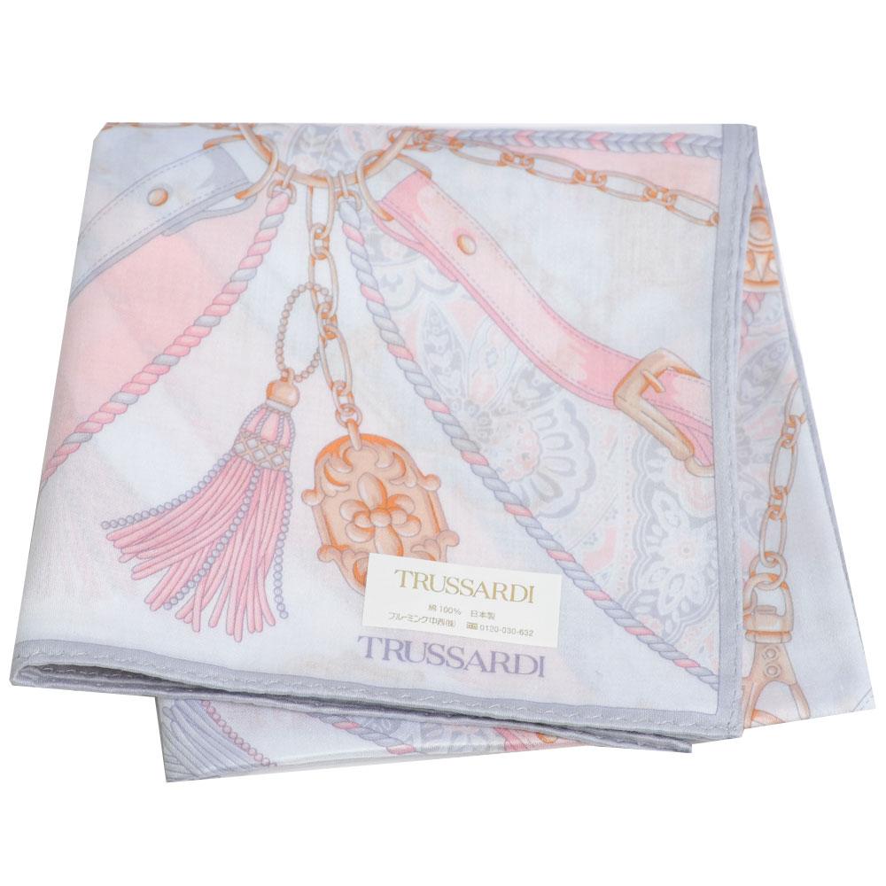 TRUSSARDI 優雅品牌皮穿鍊流蘇圖騰LOGO大帕領巾(灰/粉紅系)