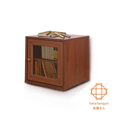 Sato_HAKO有故事的風格-馬賽克玻璃櫃(復古胡桃木紋)39x39x39