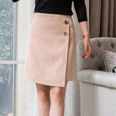 設計所在Lady-短裙前開叉A字高腰不規則一步包臀裙(二色M-2XL可選)