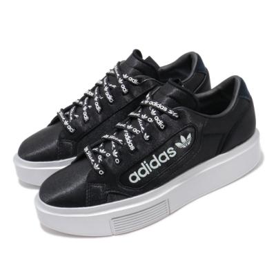 adidas 休閒鞋 SLEEK Super 厚底 女鞋 愛迪達 三葉草 緞面鞋 流行 穿搭 黑 銀 EG7881
