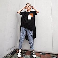不規則前短後長拼接口袋T恤-F-CLORI