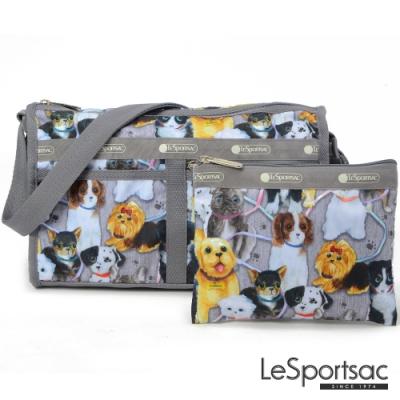 LeSportsac - Standard雙口袋斜背包-附化妝包 (小狗聚會)