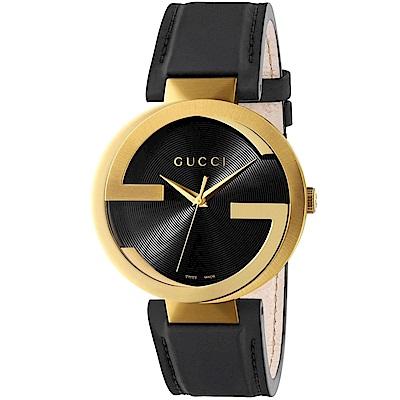 GUCCI Interlocking-G 黑金流行時尚元素腕錶(133212)