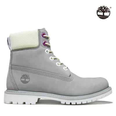 Timberland 女款中階灰磨砂革6吋防水靴|A2HWU